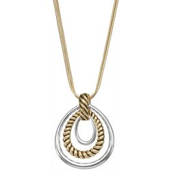 Napier Two-Tone Teardrop Rings Pendant Necklace