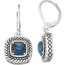 Napier Textured Square Denim Stone Drop Earrings