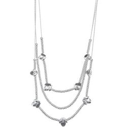 Napier Beaded Silver Tone Caviar Bead Multi Row Necklace