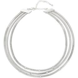 Napier Silver Tone Multi Row Collar Necklace