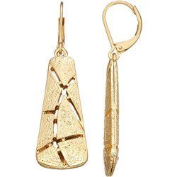 Napier Gold Tone Pieced Linear Drop Earrings