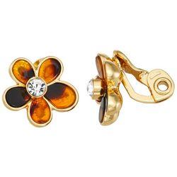 Napier Tortoise Flower Clip Earrings