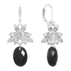 Gloria Vanderbilt Floral Bezel Oval Drop Earrings