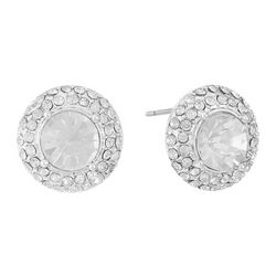 Gloria Vanderbilt Large Round Crystal Post Earrings