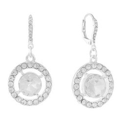 Gloria Vanderbilt  Rhinestone Ring Leverback Earrings