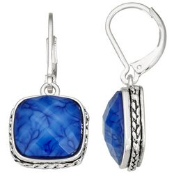 Napier Blue Faceted Square Stone Silver Tone Drop Earrings