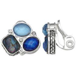 Napier Silver Tone CLuster Jewel Clip Earrings