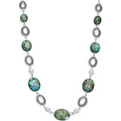 Napier Silvertone Abalone Ovals Necklace