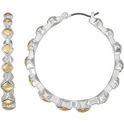 Napier Two Tone Diamond Hoop Earrings