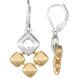 Napier Two Tone Diamonds Drop Lever Back Earrings