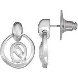 Napier Small Silvertone Door Knocker Earrings