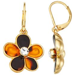Napier Gold Tone Tortoiseshell Flower Drop Earrings