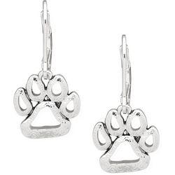 Pet Friends Silver Tone Hollow Paw Print Drop Earrings
