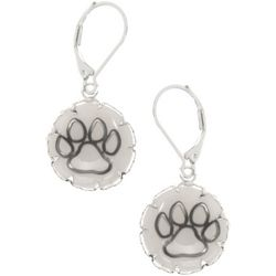 Pet Friends Silver Tone Paw Print Disc Drop Earrings