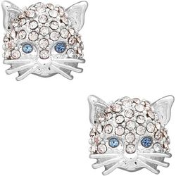 Pet Friends Silver Tone Pave Rhinestone Cat Stud Earrings