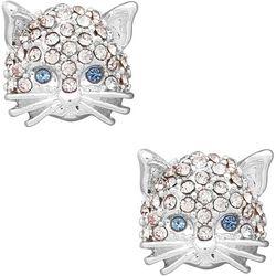 Silver Tone Pave Rhinestone Cat Stud Earrings