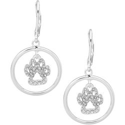 Pet Friends Silver Tone Circle Hollow Paw Drop Earrings