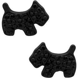 Pet Friends Black Stone Scottie Dog Stud Earrings