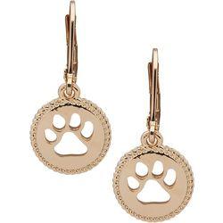 Pet Friends Gold Tone Paw Print Drop Earrings