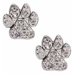Pet Friends Silver Tone Rhinestone Paw Print Stud Earrings