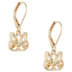 Gold Tone Cat Face Drop Earrings