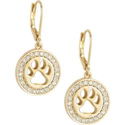 Pet Friends Gold Tone Rhinestone Paw Drop Earrings