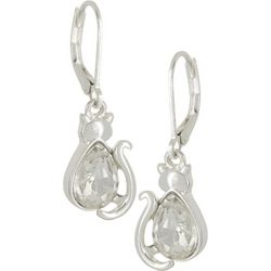 Pet Friends Silver Tone Multi-Faceted Cat Leverback Earrings