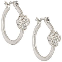 Pet Friends Rhinestone Paw Silver Tone Hoop Earrings
