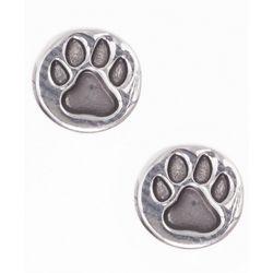 Pet Friends Silver Tone Paw Print Disc Stud Earrings