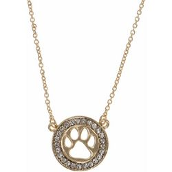 Pet Friends Crystal Gold Tone Circle Paw Pendant Necklace