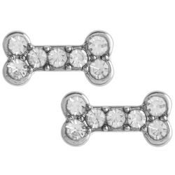 Pet Friends Rhinestone Bone Silver Tone Stud Earrings