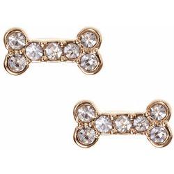Pet Friends Rhinestone Bone Gold Tone Stud Earrings