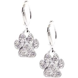 Pet Friends Silver Tone Rhinestone Paw Drop Earrings