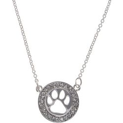 Pet Friends Silver Tone Circle Paw Pendant Necklace