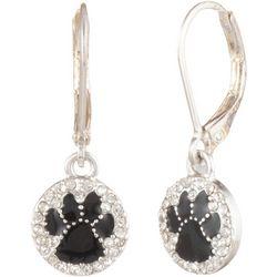 Pet Friends Silver Tone CZ & Enamel Paw Print Drop Earrings