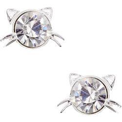 Pet Friends Silver Tone Rhinestone Cat Stud Earrings