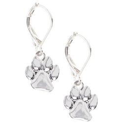 Pet Friends Silver Tone Paw Print Drop Earrings