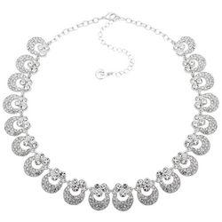 Gloria Vanderbilt Silver Tone Round Rhinestone Necklace