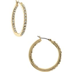 Gloria Vanderbilt Gold Tone Click Hoop Earrings