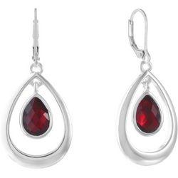 Gloria Vanderbilt Red Multi-Faceted Open Teardrop Earrings