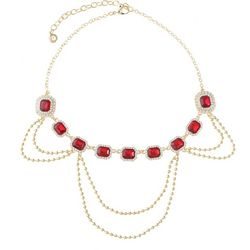 Gloria Vanderbilt Red Facet Crystal Swag Necklace