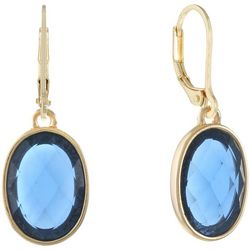 Gloria Vanderbilt Oval Blue Multi-Faceted Drop Earrings