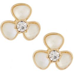 Gloria Vanderbilt White Flower Button Stud Earring