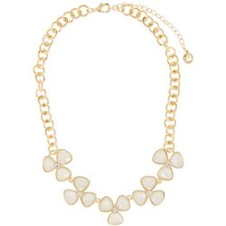 Gloria Vanderbilt White Flower Frontal Necklace