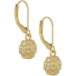 Gloria Vanderbilt Gold Tone Ball Drop Earrings