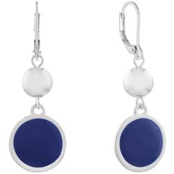 Gloria Vanderbilt Navy Blue Double Disc Drop Earrings