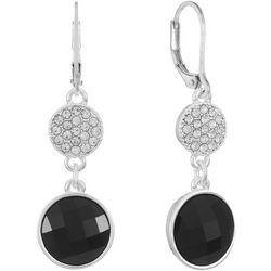 Gloria Vanderbilt Black Facet Double Drop Earrings