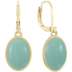Gloria Vanderbilt Mint Oval Drop Earrings