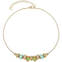Gloria Vanderbilt Aqua Green Bead Slider Necklace