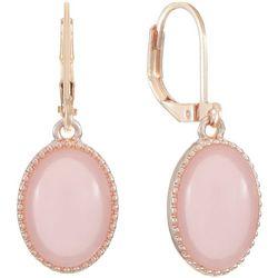 Gloria Vanderbilt Pink Rose Tone Oval Drop Earring